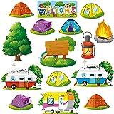 Juego de 40 Decoración de Tablones de Anuncios de Camping Recortes de Caravana de Vintage Recortes de Carpas de Amigos Animales de Bosque Actividades Educativas Aprendizaje para Niños