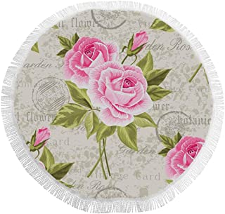 InterestPrint Floral Pattern with Pink Roses on Vintage Postcard Round Beach Towel Blanket Yoga Mat Circular Beach Shawl Tapestry Multi-Purpose Towel Table Cloth for Women 59