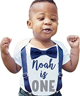 Personalized First Birthday Outfits for Baby Boys with Bow Ties and Suspenders