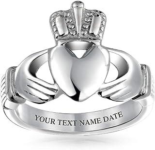 Bling Jewelry BFF Celtico Irlandesi Amicizia Coppie Claddagh Anello per Uomini per Donne in Acciaio Inossidabile Inciso Pe...