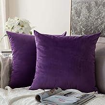 MIULEE Velvet Soft Soild Decorative Square Throw Pillow Covers Set Cushion Case for Sofa Bedroom Car, Velvet, Purple, 24''...