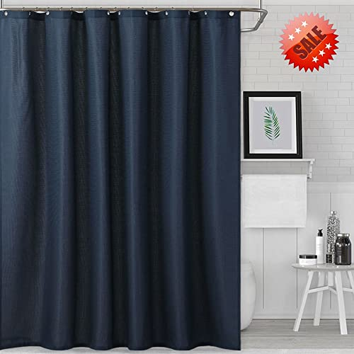 NANAN Navy Shower Curtain For Bathroom Water Repellent Waffle Weave Fabric In