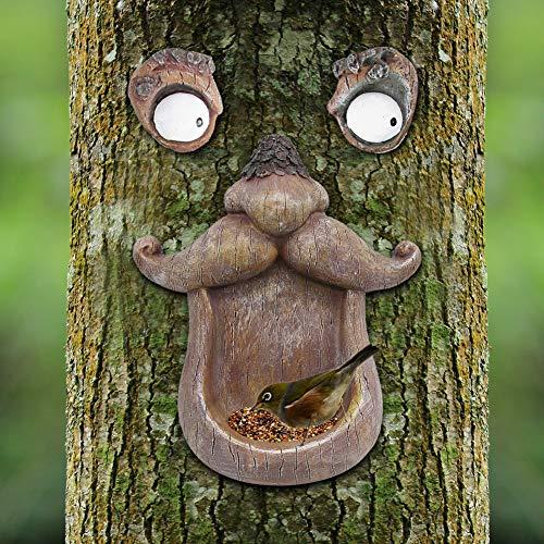 Juegoal Bird Feeder Tree Face Decor Outdoor, Fun Old Man Tree Sculpture Yard Art Garden Decoration