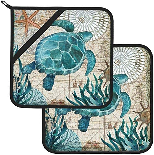 Vintage Ocean Turtle Starfish World Map Pot Holders and Oven Mitts Sets BBQ Gloves Disposable product image