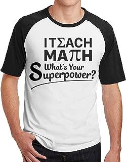 I Teach Math What's Your Superpower Men's Short Sleeve Raglan Baseball T Shirts Black XXL