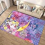 HoodieBBQ Sailor Moon Hare Square Alfombra Antideslizante Alfombra para Dormitorio Puerta Silla de Estudio Alfombrilla para Piso-60x90cm-A_140x200cm