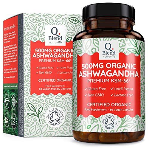 Organic Ashwagandha 500mg - 500 mg Premium KSM-66 Ashwanghanda per Vegan Capsule (60 Capsules) -Natural Ayurveda Herbal Supplement - Certified Organic by Soil Association - Made in The UK by Nutravita