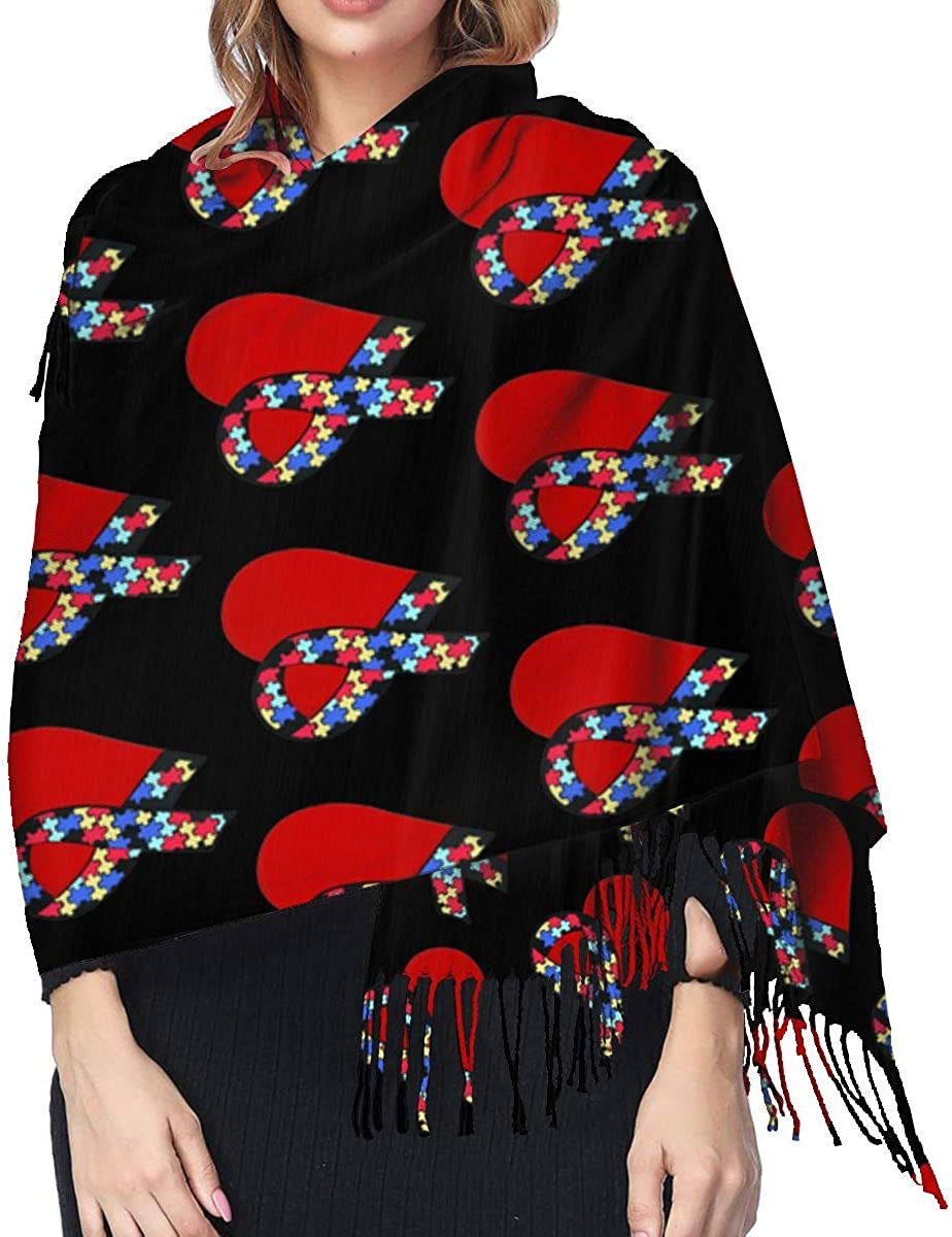 Ribbon Heart Autism Awareness Cashmere Shawl Wrap Scarf Large Warm Scarf For Women