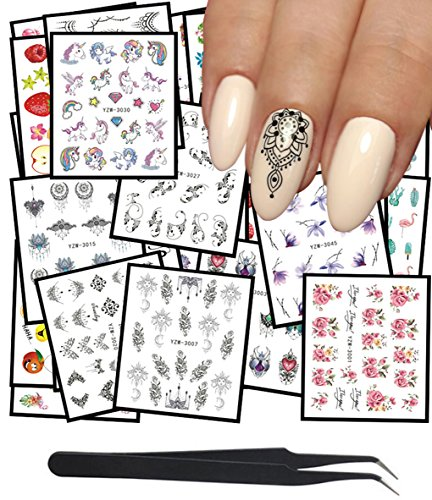 WOKOTO 48Pcs Nail Water Decals Feather Flower Lace Butterfly Cartoon Water Transfer Stickers For Nails Art Design With Nail Tweezers Missouri
