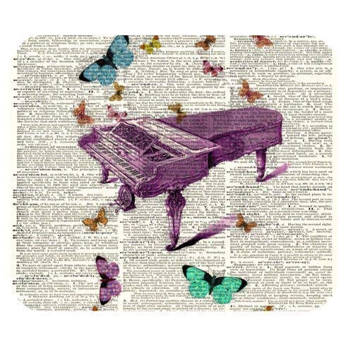 Piano Fly Dictionary Page Art Rectangle Non-Slip Rubber Mousepad,25 x 30 cm Mauspad