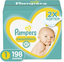 Diapers Newborn/Size 1 (8-14 lb), 198 Count – Pampers Swaddlers Disposable Baby..