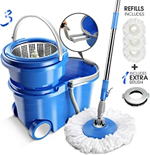 12L Magic Wheel Spin Mop and Stainless Steel Rotating Bucket Set with Drag Reduction Device and 3Pcs Microfiber and 1 Pc Floor Brush Mop Head