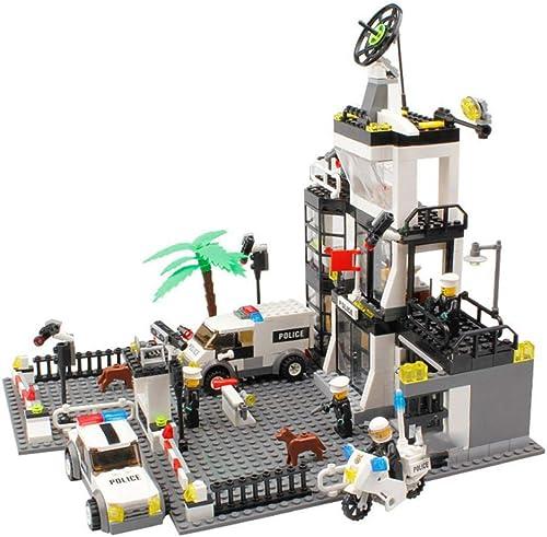 DYMAS Jouet Enfants Puzzle des Blocs de Construction de la Ville Assemblage de la Station de Police