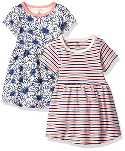 Touched by Nature Girls, Baby and Women's Organic Cotton Long Dresses, Daisy Short Sleeve, 3-Toddler
