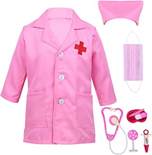 ranrann Unisex Kids Halloween Costume Doctor Surgeon Accessories Coat with Cap Mask Outfits Dress up
