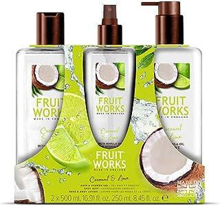 Fruit Works Coconut & Lime Trio Gift Set Containing 1x 500ml Bath & Shower Gel 1x 250ml Body Mist & 1x 500ml Hand & Body ...