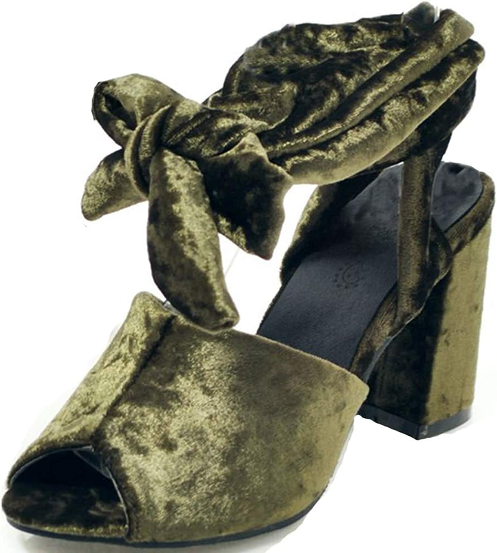 SaraIris Women's Open Toe Chunky High Heel Tie up shoes Slingback Casual Sandals