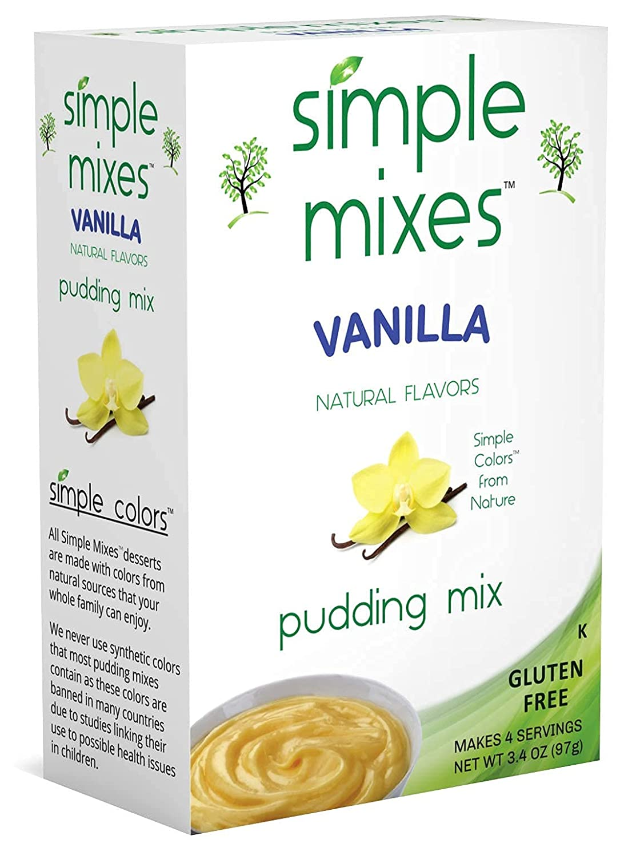 Simple Mixes Natural Pudding Mix, Vanilla, 3.4 Ounce, Pack of 6