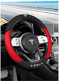 NIUASH Car Interior Steering Wheel Cover Accessories,for Tesla Model 3/Y/X/S 2018~2021 Diameter 38cm