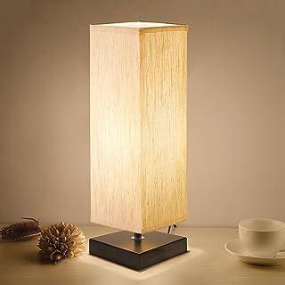 لامپ میز کنار تخت، Aooshine مینیمالیستی چوب جامد چوب لامپ Bedside لامپ میز با لامپ Fabric ساندویچ Flaxen برای اتاق خواب، Dresser، اتاق نشیمن، اتاق کودکان، خوابگاه کالج، میز قهوه، کتابخانه