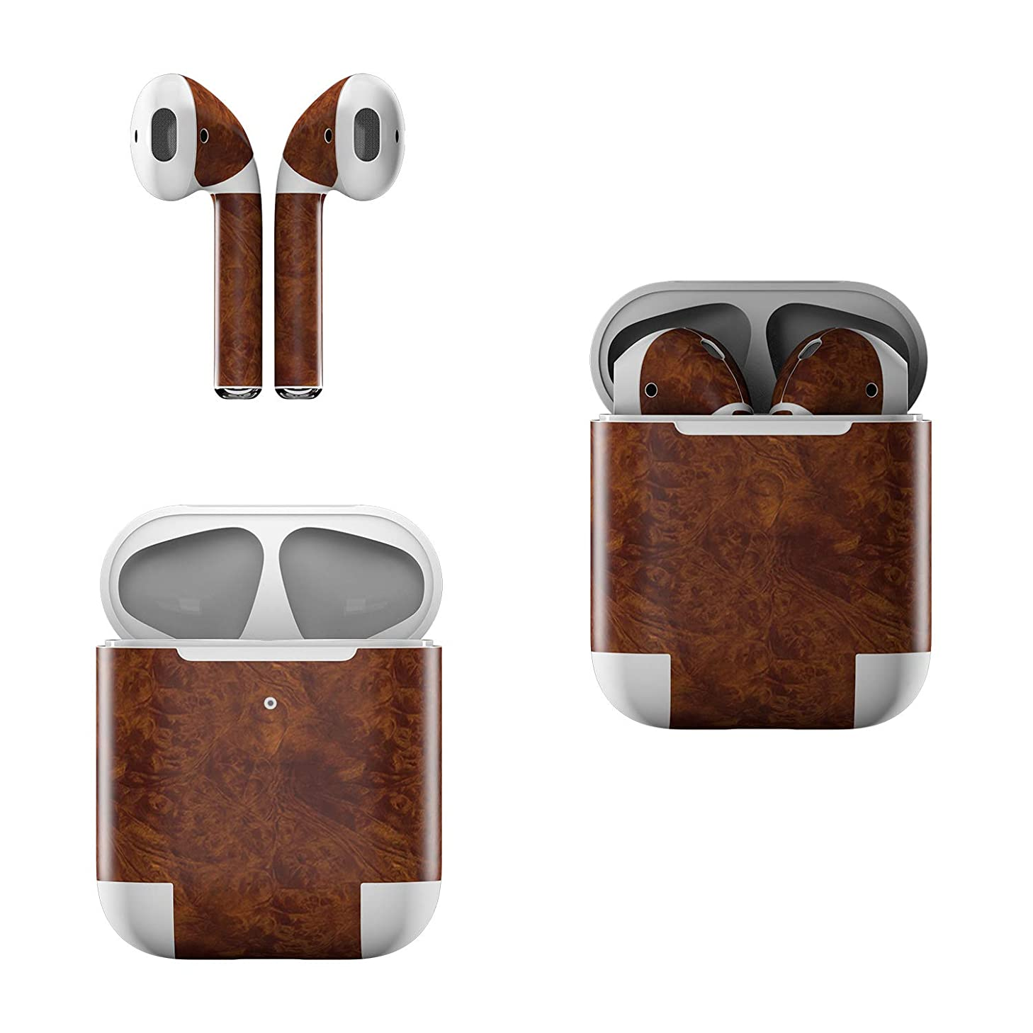 Skin Decals for Apple AirPods - Dark Burlwood - Sticker Wrap Fits 1st and 2nd Generation
