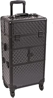 Sunrise I3464DMAB Black Diamond 3 Tiers Accordion Trays 4 Wheels Professional Rolling Aluminum Cosmetic Makeup Craft Storage Organizer Case and 6 Tiers Extendable Trays with Dividers