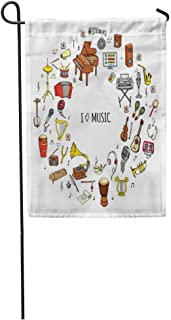 NgkagluxCap Garden Flag Doodle I Love Music Musical Instrument Symbols Collections Cartoon Sound Home Yard House Decor Barnner Outdoor Stand 12x18 Inches Flag