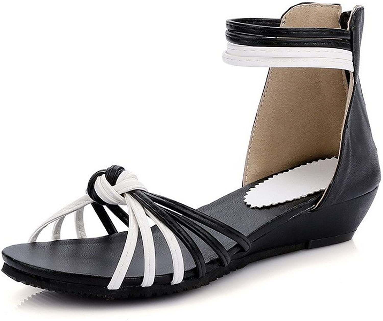 WeiPoot Women's Assorted color PU Low-Heels Open Toe Zipper Wedges-Sandals