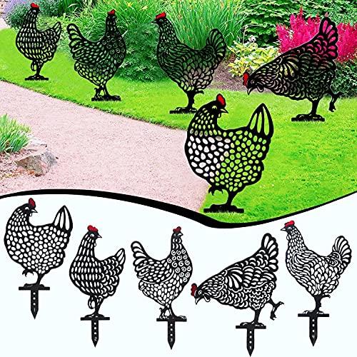 Decorazione della Scultura del Giardino, Gallina Da Giardino, arte decorativa da giardino, decorazione da giardino, Ornamenti Decorativi Per Galline, realistici di gallina, Sagoma di Pollo (5pcs)