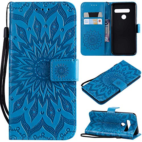 KKEIKO Hülle für LG G8 ThinQ, PU Leder Brieftasche Schutzhülle Klapphülle, Sun Blumen Design Stoßfest Handyhülle für LG G8 ThinQ - Blau