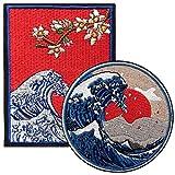 2 Stück große Kanagawa Welle Patches auf annähen Eisen auf Patches,gestickte Applikation Abzeichen perfekt für Jacken Rucksäcke Hüte,japanische Volkskunst Geschenk,Great Wave Off Kanagawa Surf Patches