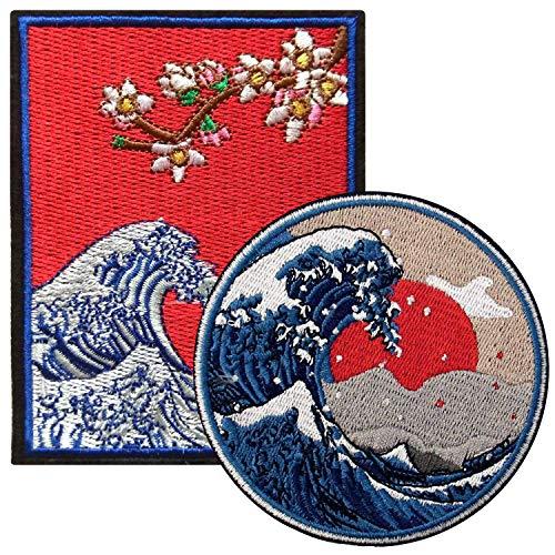 2 Stück große Kanagawa Welle Patches auf annähen Eisen auf Patches,gestickte Applikation Abzeichen ideal für Jacken Rucksäcke Hüte,japanische Volkskunst Geschenk,Great Wave Off Kanagawa Surf Patches