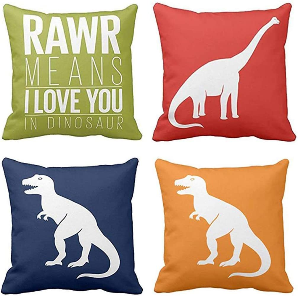 Emvency Set of 4 Throw Pillow Covers Dinosaur Tyrannosaurus in Rawr Brachiosaurus Red Navy Blue Prehistoric Paleontologist Decorative Pillow Cases Boys Room Home Decor Square 18x18 Inches Pillowcases