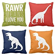 Emvency Set of 4 Throw Pillow Covers Dinosaur Tyrannosaurus in Rawr Brachiosaurus Red Navy Blue Prehistoric Paleontologist Decorative Pillow Cases Home Decor Square 16x16 Inches Pillowcases