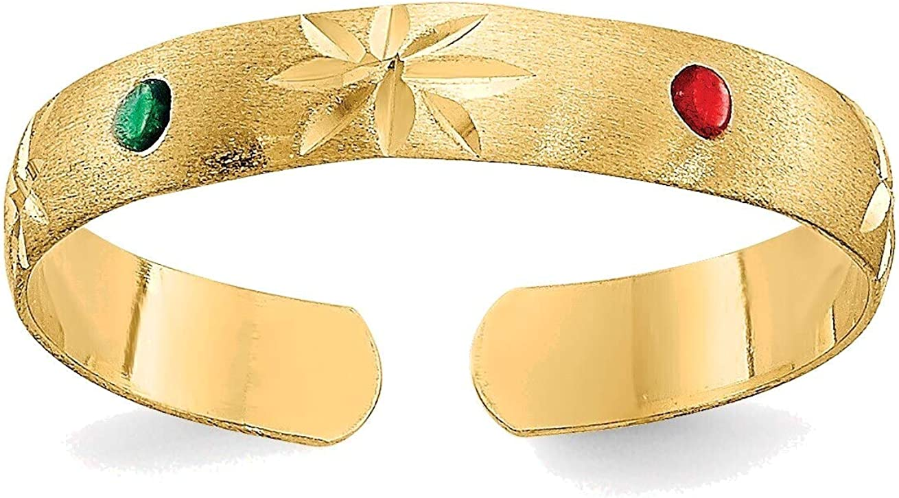 Bonyak Jewelry Enameled Toe Ring in 14K Yellow Gold in Size 11