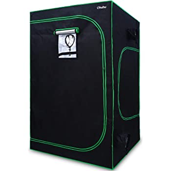 """Ohuhu 48""""x 48""""x 80"""" Mylar Hydroponic Grow Tent with Observation Window, Floor Tray & Tool Bag, 4'x4' Plant Growing Tent with Durable 600D Oxford Cover for Indoor Plant Growing, Gardening & Germination"""