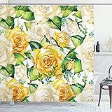 ABAKUHAUS Rose Duschvorhang, Aquarell Hochzeit Blumen, Moderner Digitaldruck mit 12 Haken auf Stoff Wasser & Bakterie Resistent, 175 x 220 cm, Gelbe beige grün
