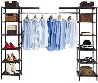 Seville Classics Expandable Resin Slat Double-Rod Clothes Rack Closet Organizer System, 74