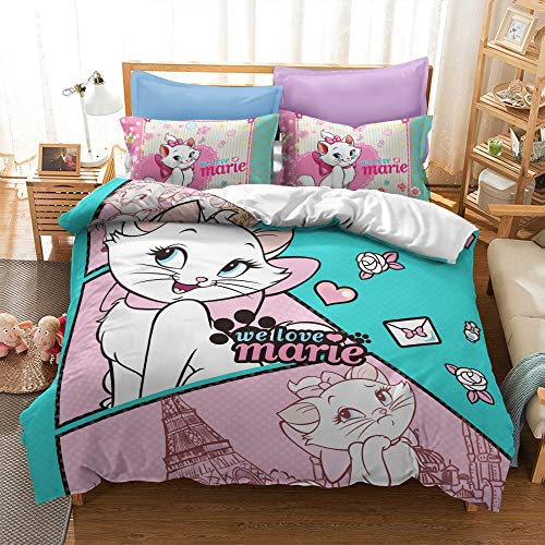 Enhome Duvet Cover Bedding Set for Single Double King Size Bed, 3D Cartoon White Cat Print Microfiber Duvet Set Quilt Case with Pillowcases (Marie-2,220x240cm)