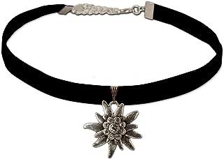 Bavarian Velvet Choker Elastic Rhinestone Edelweiss (black) - Traditional German Dirndl Jewelry