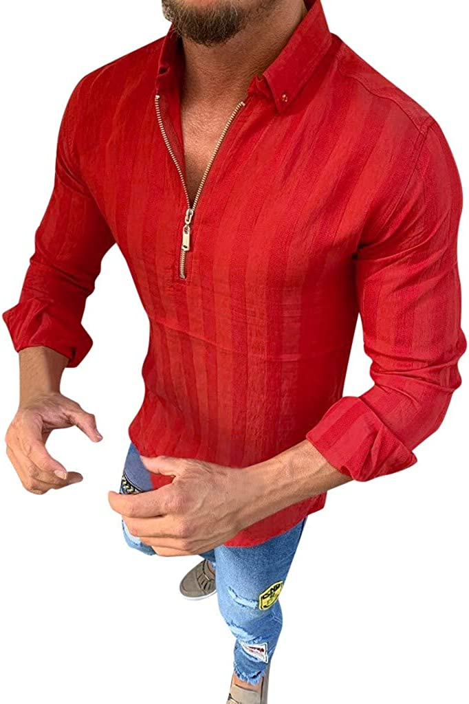 VEKDONE Men's Long Sleeve Shirts Slim Fit 1/4 Zip Pullover Running Casual Business Shirts