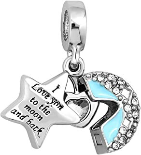 Mel Crouch Star Moon I Love You To The Moon And Back Charms Heart Charm Openable Beads for Bracelets