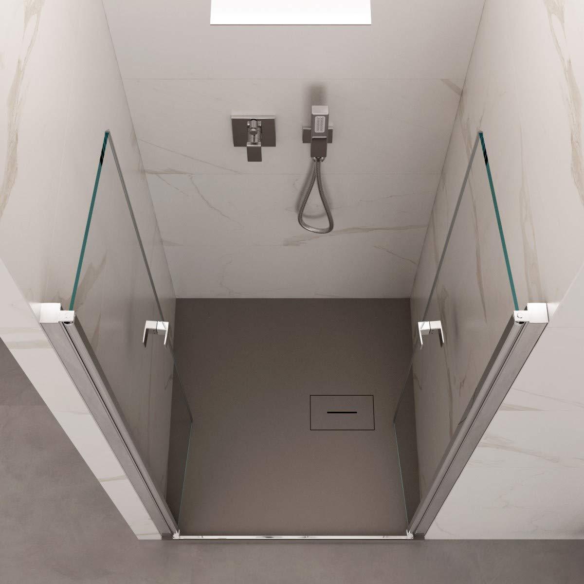 Olimpo - Mampara de Ducha de 195 cm de Altura, Puerta Saloon, Cristal de 6 mm, Transparente, Dobla One: Amazon.es: Hogar