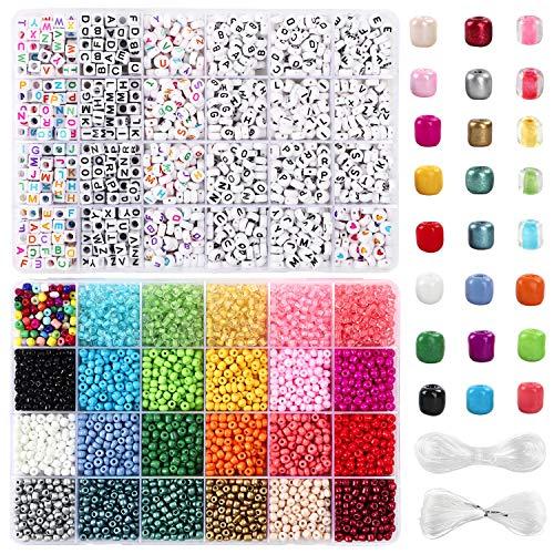 UOONY 7200 cuentas de cristal de 4 mm y 1600 cuentas de letras de estilo para pulseras, joyería y manualidades con cuerda de cristal de 20 m y cuerda elástica de 30 m