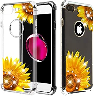 Case+Tempered_Glass+Stylus, TPU Candy Skin Cover Fits Apple iPhone 7 Plus/8 Plus (Also Fits 6 Plus/6S Plus, But Cannot Use Earphone) Electroplating Silver/Sunflower Stuffed Diamante/Artificial Diamond
