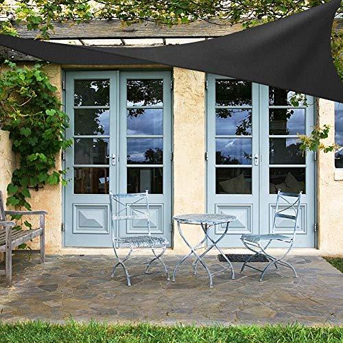 OKPOW Sonnensegel, Sonnensegel (2 m x 3 m), Sonnenschutz für den Garten, rechteckig, UV-Schutz, wasserdicht, für Outdoor-Aktivitäten, Schwarz