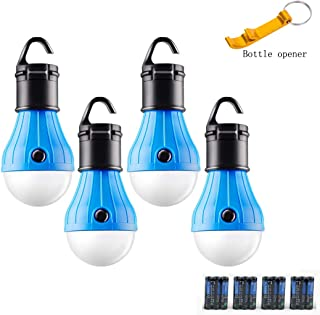 GL LED Camping Lantern, [4 Pack] Portable Outdoor Tent Light Emergency Bulb Light for Camping, Hiking, Outage, Fishing, Outdoors & Indoors Emergency Lighting, Battery Powered(Include)