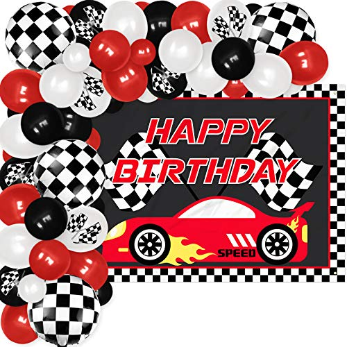 Vansolinne Race Car Backdrop Banner & Balloon Garland Kit 83 Pieces Checkered Flags Photography Backdrop for Sports Theme Party Supplies Two Fast Birthday Checkered Flags Party Decor