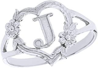 CaliRoseJewelry Silver Initial Alphabet Personalized Heart Ring - Letter J