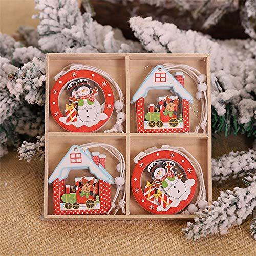 12PCS/Box Christmas Ornaments 2020 Wooden Pendants Xmas Tree Ornaments Home Hanging Decor,Classic Christmas Socks/Gloves/Reindeer/Snowman/Penguin/Santa Claus/Christmas Tree Characters